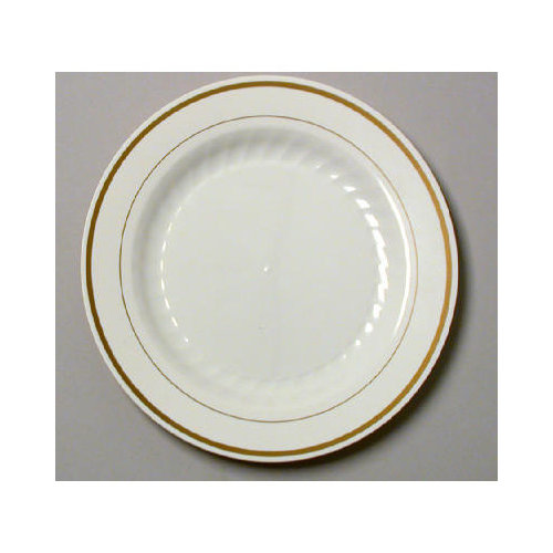 WNA Comet Masterpiece 9'' Plastic Plate in Ivory with Gold Accents
