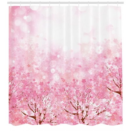 Pale Pink Shower Curtain, Japanese Cherry Blossom Sakura Tree with Romantic Influence Asian Nature Theme, Fabric Bathroom Set with Hooks, Baby Pink, by Ambesonne - Cherry Blossom Baby Shower