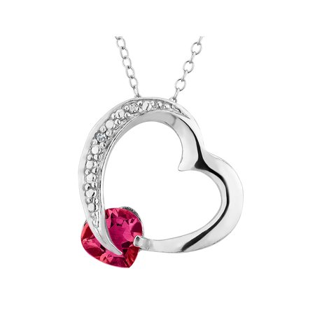 Created Ruby Heart Pendant Necklace with Diamond Accent 1.0 Carat (ctw) in Sterling Silver with Chain - image 1 de 1