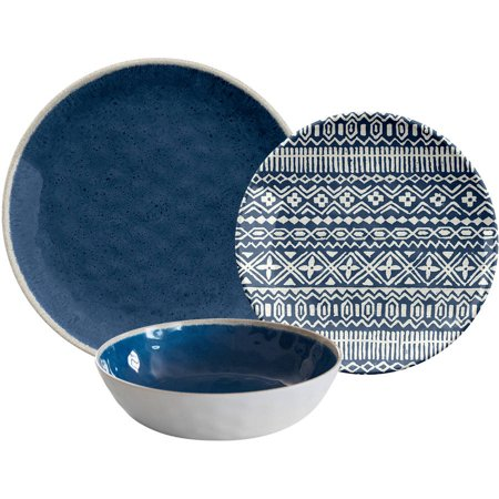 Better Homes & Gardens Outdoor Melamine Blue Reactive Dinnerware Set, 12 Piece ()