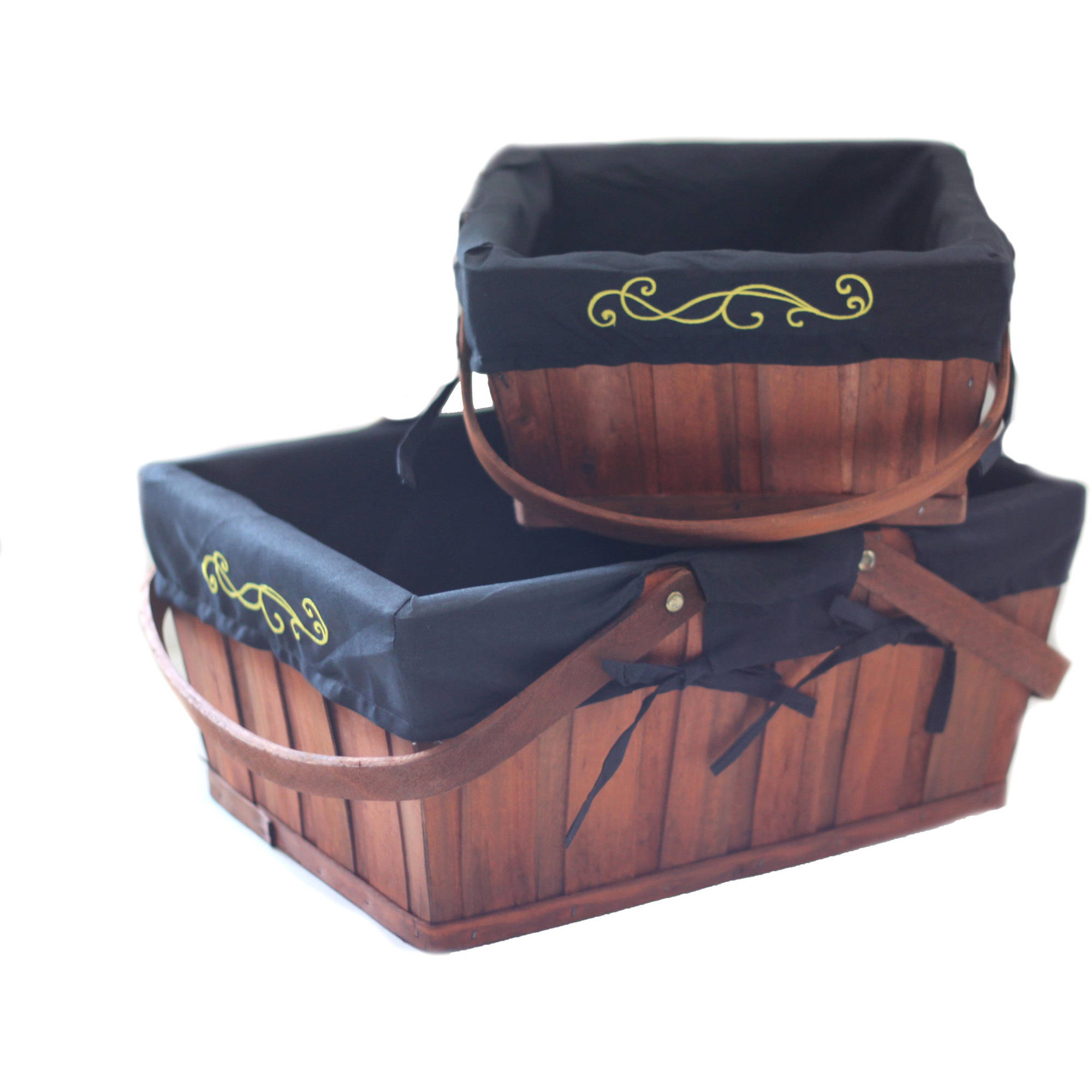 Rectangular Baskets with Handles and Embroidered Liners, Brown, Set of 2