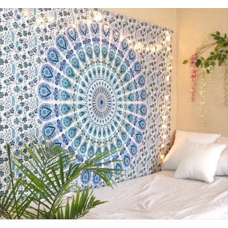 - Blue Mandala Tapestry Wall Hanging Hippie Boho Tapestries Beach Throw Blanket Outdoor Picnic Twin Size Bedspread by Oussum