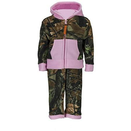 - Infant Camo Two Piece Fleece Jacket & Pants Set, 18-24 months, pink