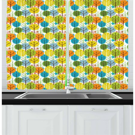Baby Curtains 2 Panels Set, Cute Colorful Summer Trees Kids Playroom Girls Boys Childish Branches Plants Artwork, Window Drapes for Living Room Bedroom, 55W X 39L Inches, Multicolor, by