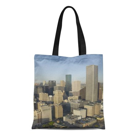 ASHLEIGH Canvas Tote Bag Landscape Downtown Houston Photography Urban City Outdoors Architecture Travel Reusable Handbag Shoulder Grocery Shopping