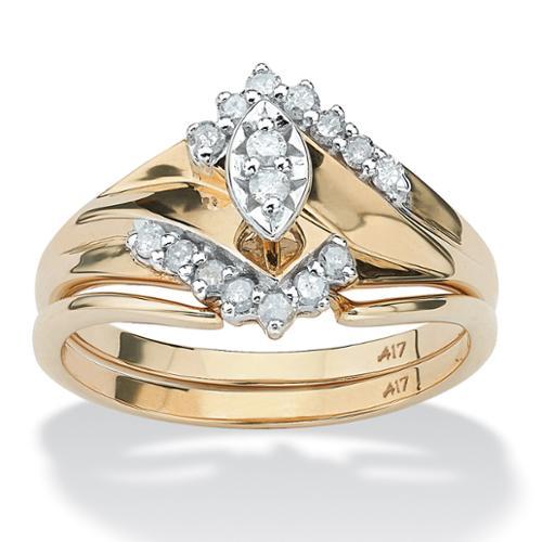 1/5 TCW Marquise-Cut Diamond 10k Gold Bridal Engagement Wedding Ring Set - Size 9