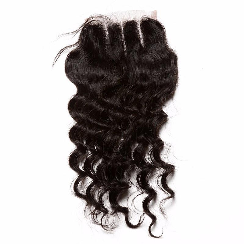 "CARA 4x4 Brazilian Loose Wave Lace Closure Free Part Curly Human Hair Wig, 10"""