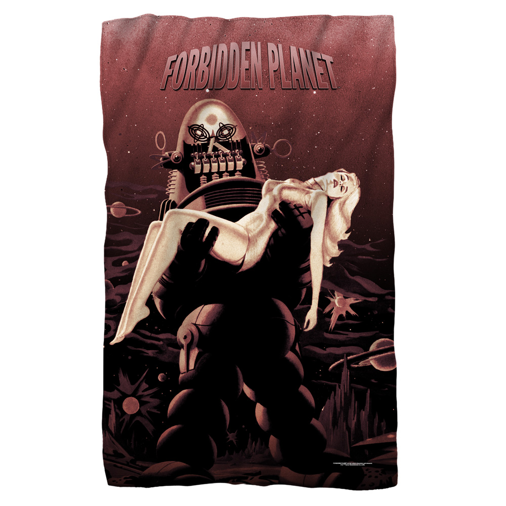 Forbidden Planet Poster Fleece Blanket White 48X80