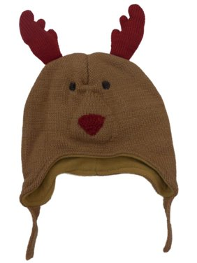 CP Infant Boys Girls Brown Knit Reindeer Peruvian Trapper Hat Fleece Lined