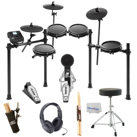 - Alesis Nitro Mesh 8 Piece Electronic Drum Kit Essentials BUNDLE