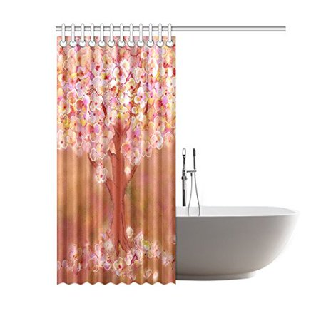 GCKG Blooming Tree Shower Curtain, Flower Tree Art Polyester Fabric Shower Curtain Bathroom Sets 60x72 Inches - image 2 of 3