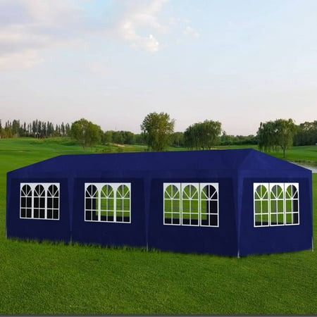 Patio Party Tent Outdoor Wedding Tent Gazebo Canopy BBQ Shelter Shed With 8 Wall Side, 10x30ft