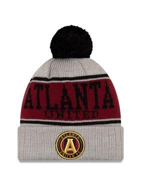 Atlanta United FC New Era Stripe Cuffed Knit Hat with Pom - Gray - OSFA