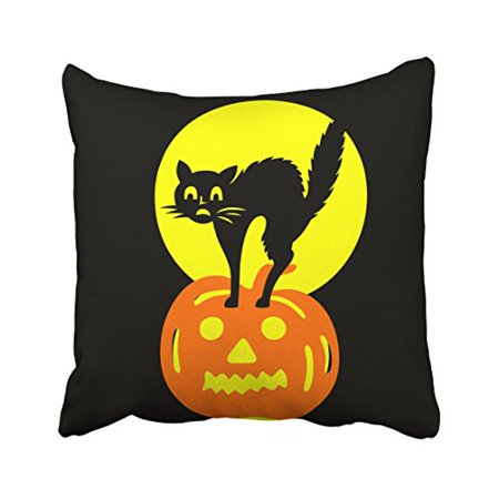 WinHome Abstract Vintage Black And Yellow Skulls Pumpkin Cat Halloween Polyester 18 x 18 Inch Square Throw Pillow Covers With Hidden Zipper Home Sofa Cushion Decorative Pillowcases (Halloween Pumpkins Black Cat)