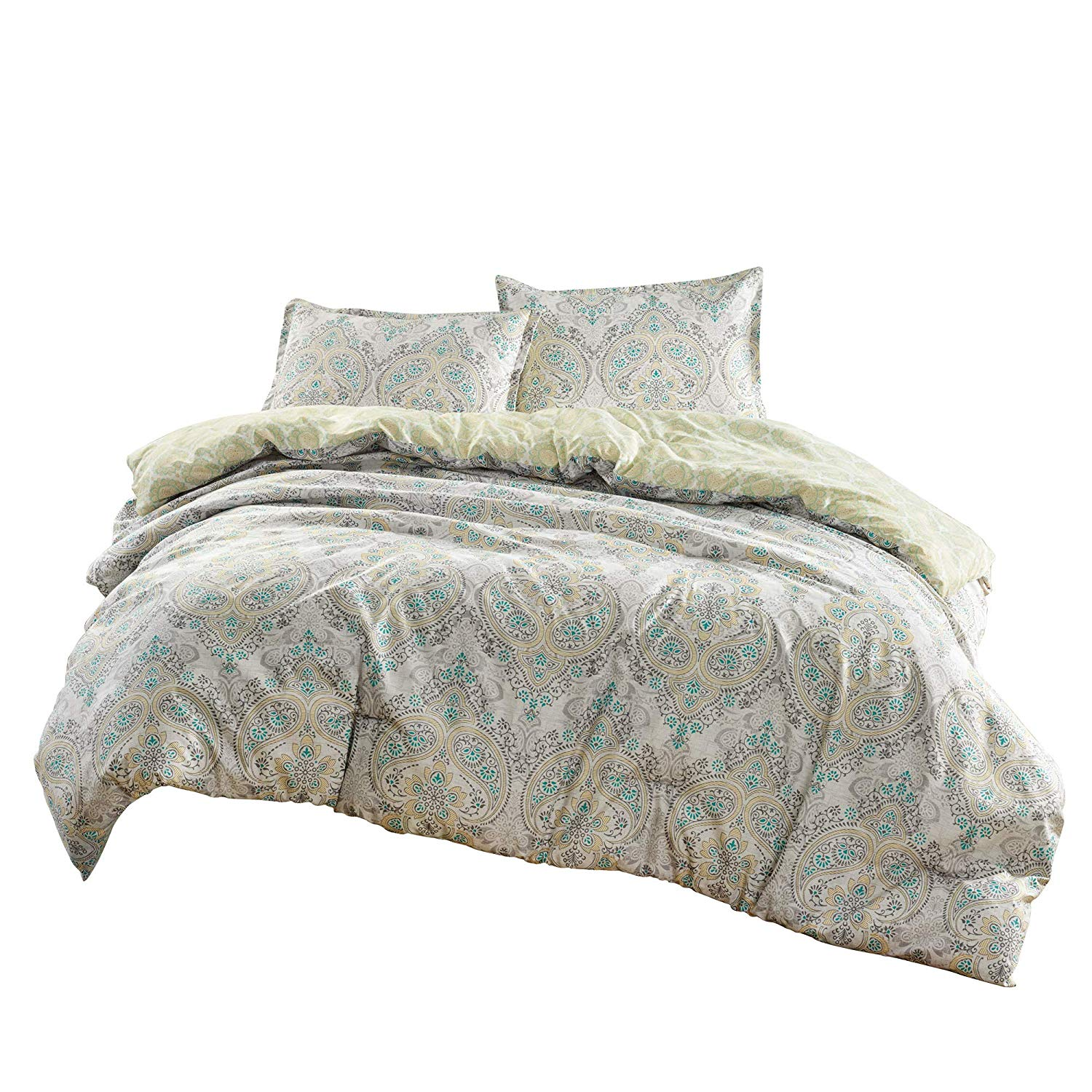 Chezmoi Collection Kovac 3-Piece Medallion Paisley Reversible Down Alternative Comforter Set