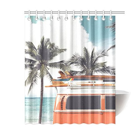 Gckg Tropical Beach Shower Curtain Vintage Car Palm Tree Polyester Fabric Bathroom Sets 60x72 Inches Canada