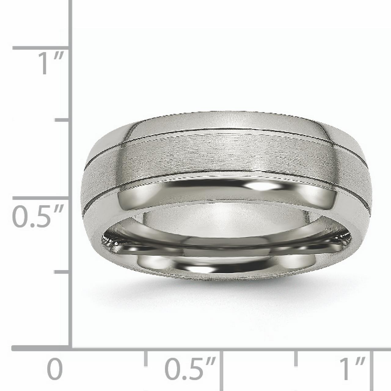Titanium Grooved 8mm Brushed Wedding Ring Band Size 14.50 Fashion Jewelry Gifts For Women For Her - image 5 de 6