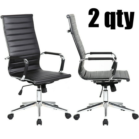 2xhome - Set of 2 Black Mid Century Modern High Back Tall Ribbed PU Leather Swivel Tilt Adjustable Chair Designer Boss Executive Manager Office Conference Room Work Task Computer ()
