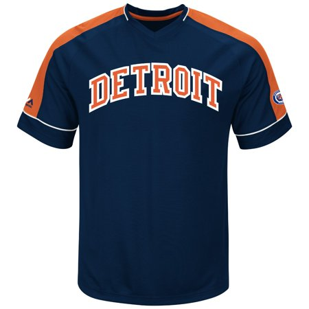 """Detroit Tigers Majestic MLB """"Tandem"""" Cooperstown V-Neck Mens Fashion Jersey by"""