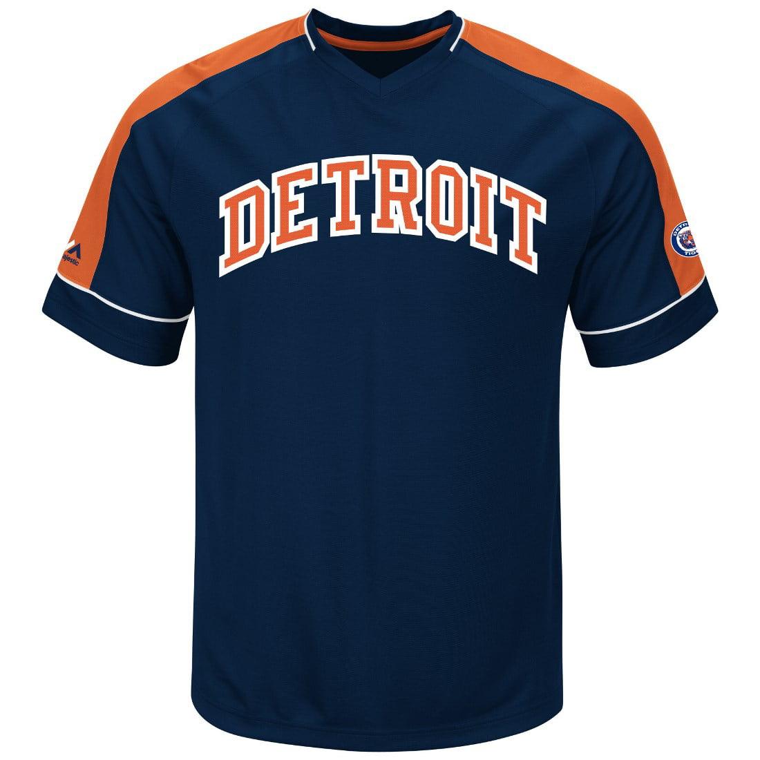 "Detroit Tigers Majestic MLB ""Tandem"" Cooperstown V-Neck Men's Fashion Jersey"
