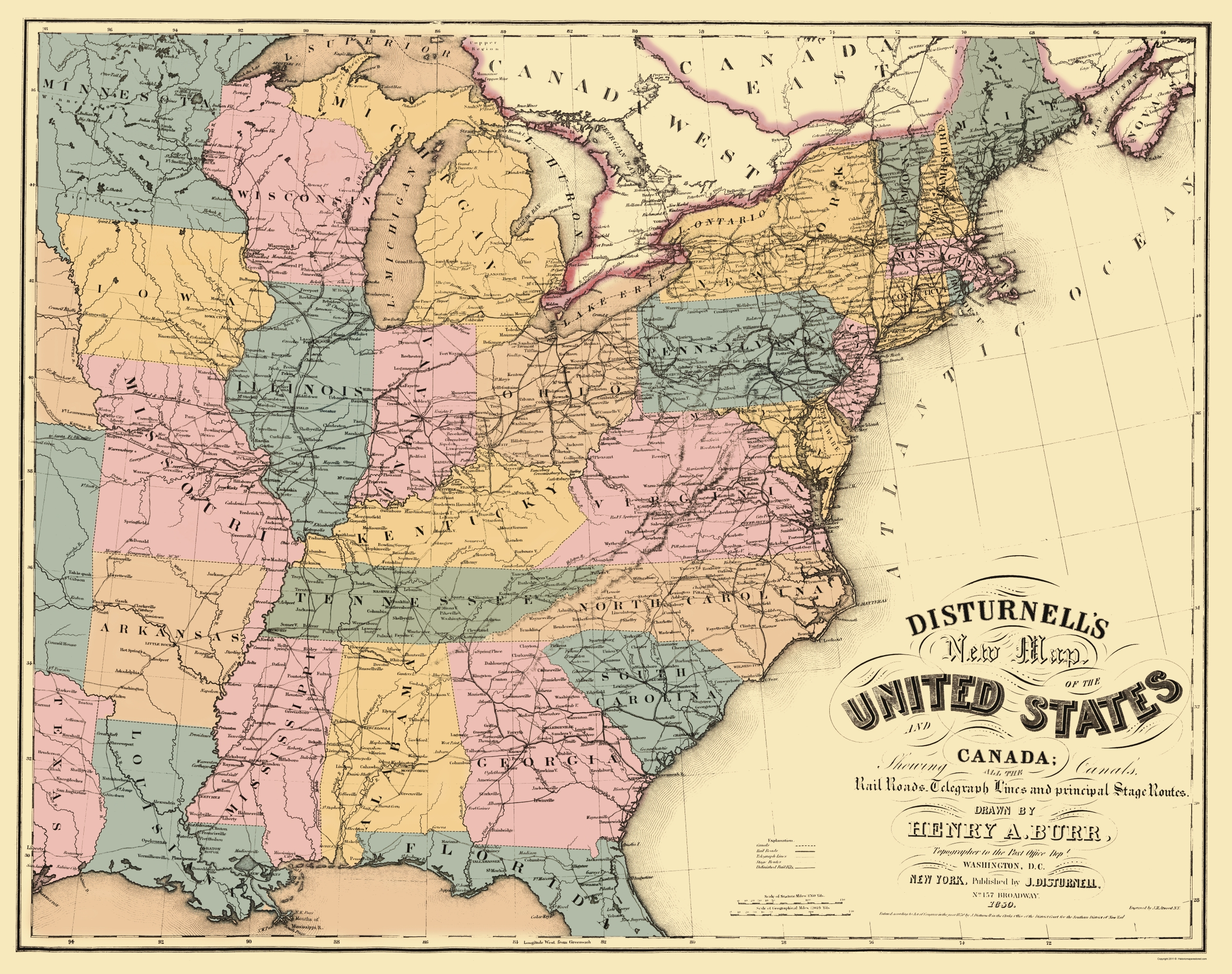 Old Travel Map Us East Railroad Telegraph Stage Coach - 1850-us-map