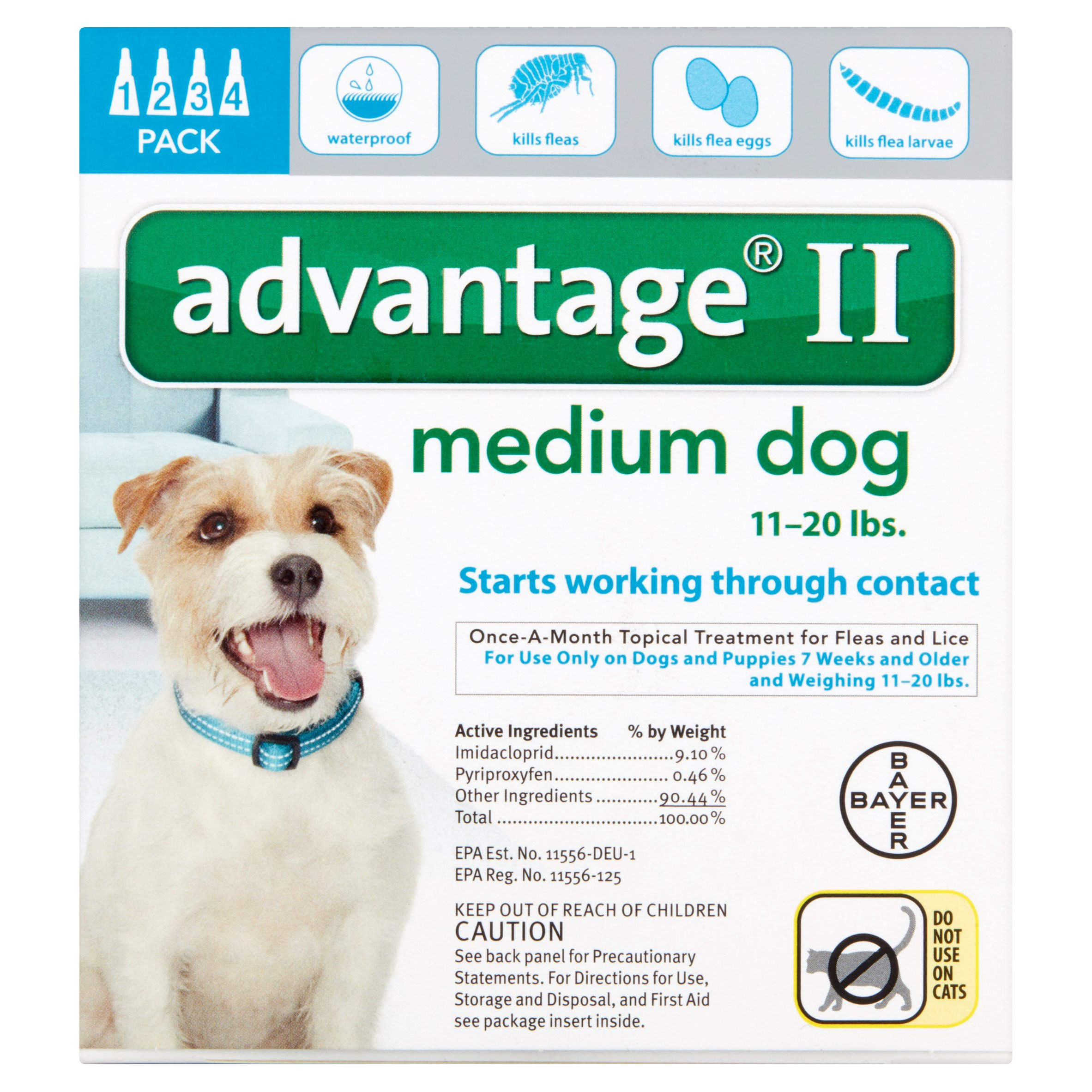 Advantage Flea Control for Dogs And Puppies 11-20 lbs 4 Month Supply by Bayer HealthCare LLC, Animal Health Division