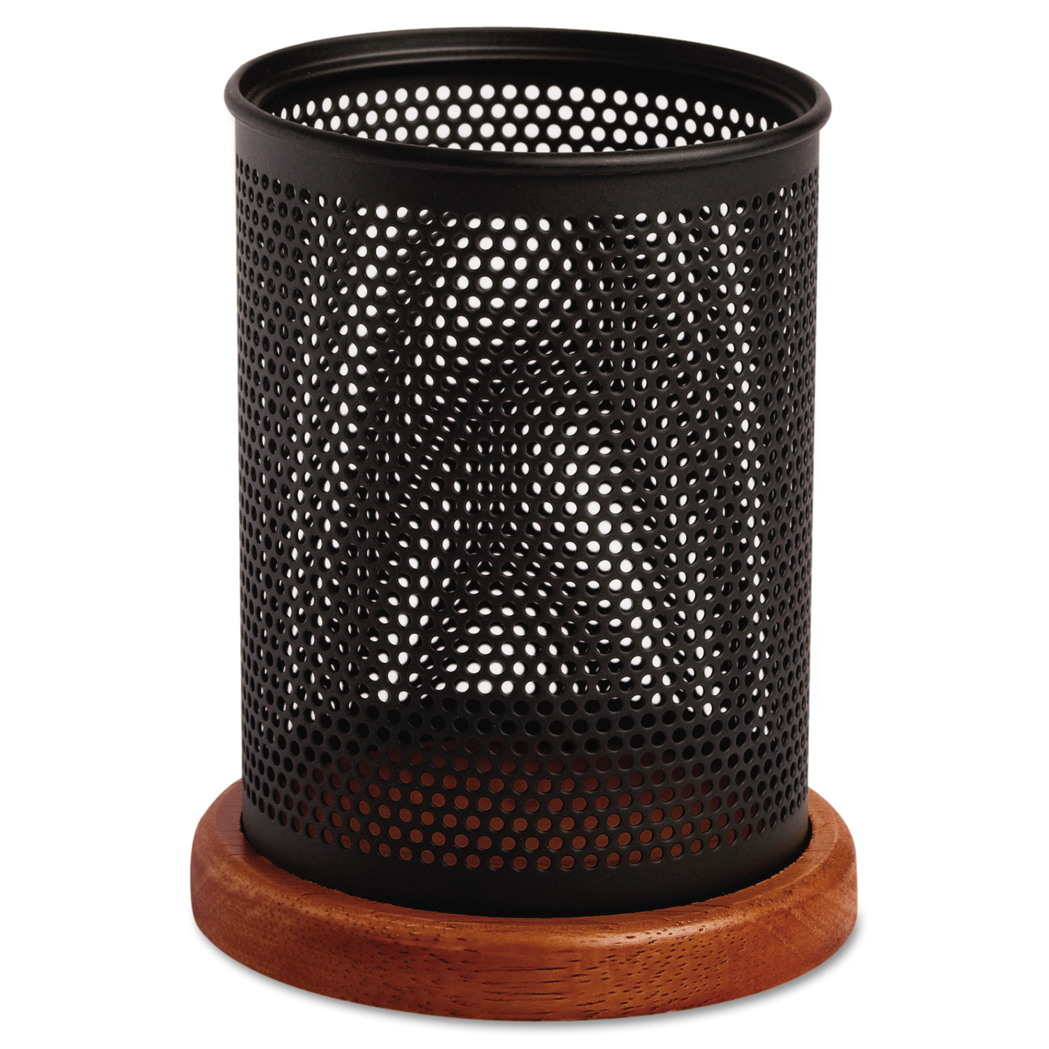 Rolodex Distinctions Metal and Wood Pencil Cup ROL1813862