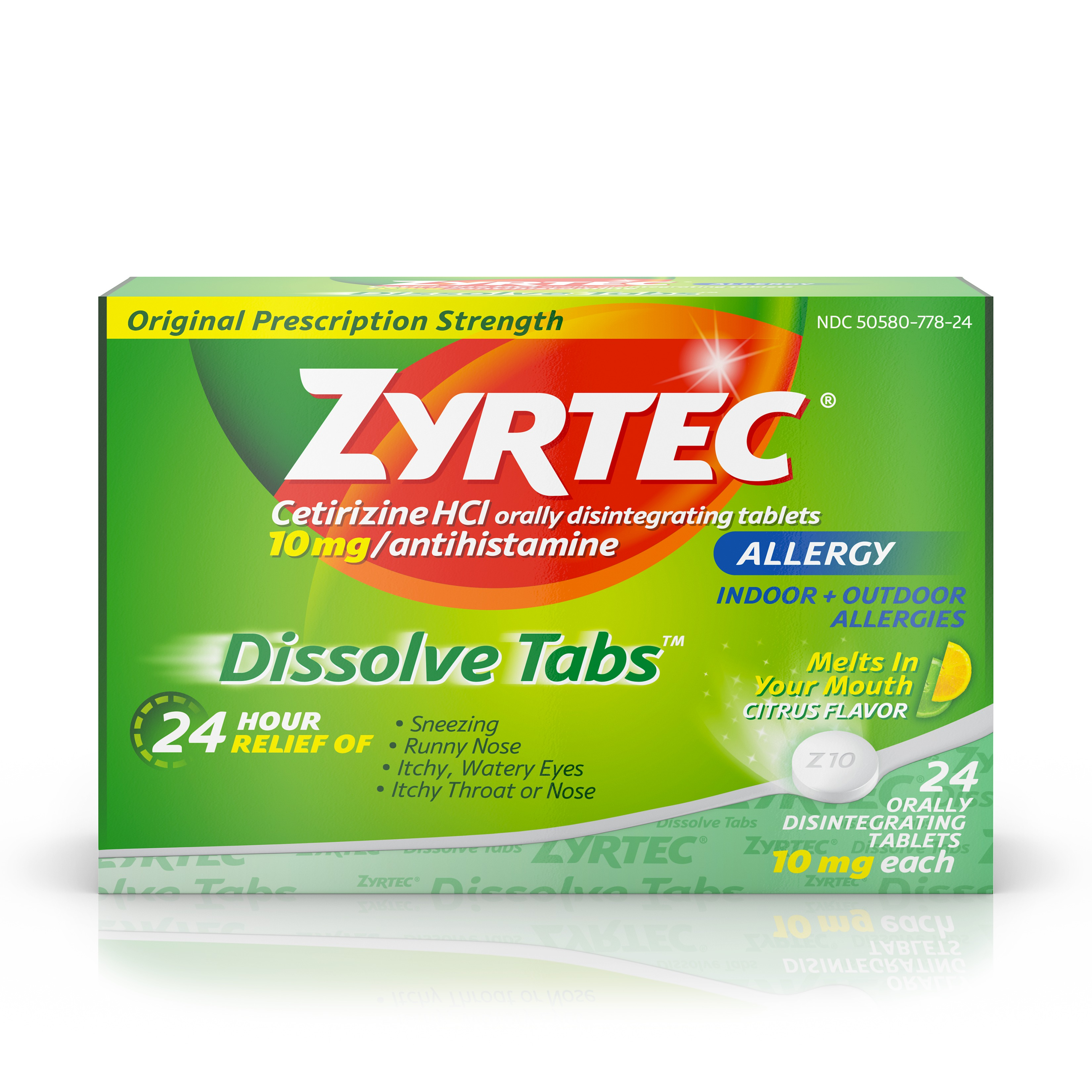 Zyrtec Allergy Relief Dissolve Tablets With Cetirizine, Citrus Flavored, 24 Count
