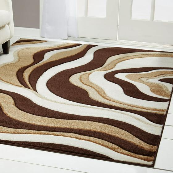 Home Dynamix Sumatra Modern Brown Wavy Hand Carved Rug