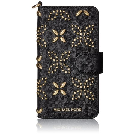 - Michael Kors NEW Black Studded Embossed Saffiano Folio Iphone 7 Wallet