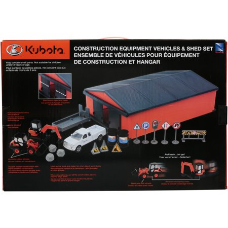 Kubota® Construction Equipment Vehicles & Shed Toy Set 19 pc Box