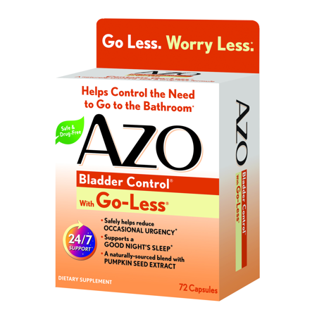 AZO Bladder Control with Go-Less Daily Supplement, Helps Reduce Occasional Urgency*, Helps reduce occasional leakage due to laughing, sneezing and exercise, 72 Capsules
