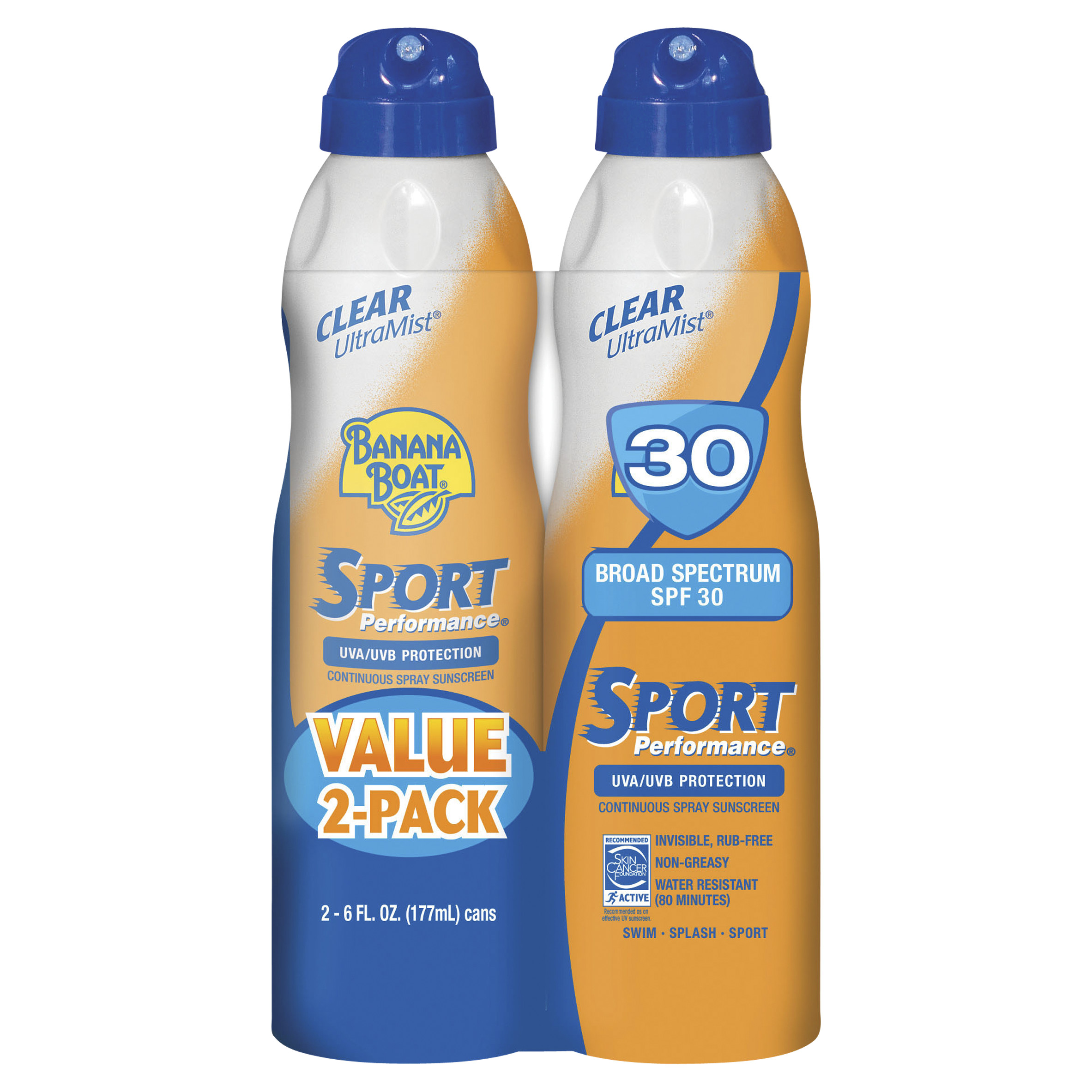 Banana Boat Sport Performance Clear Spray Sunscreen, Broad Spectrum SPF 30, 6 Oz (Twin Pack)