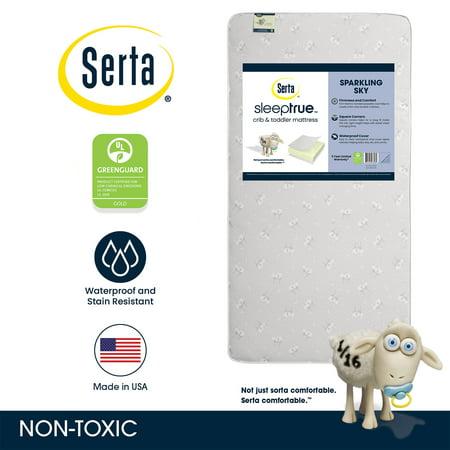 Serta SleepTrue Sparkling Sky 5-Inch Crib and Toddler Mattress - Fiber Core - Waterproof Vinyl Cover - Lightweight - GREENGUARD Gold Certified (Natural/Non-Toxic)