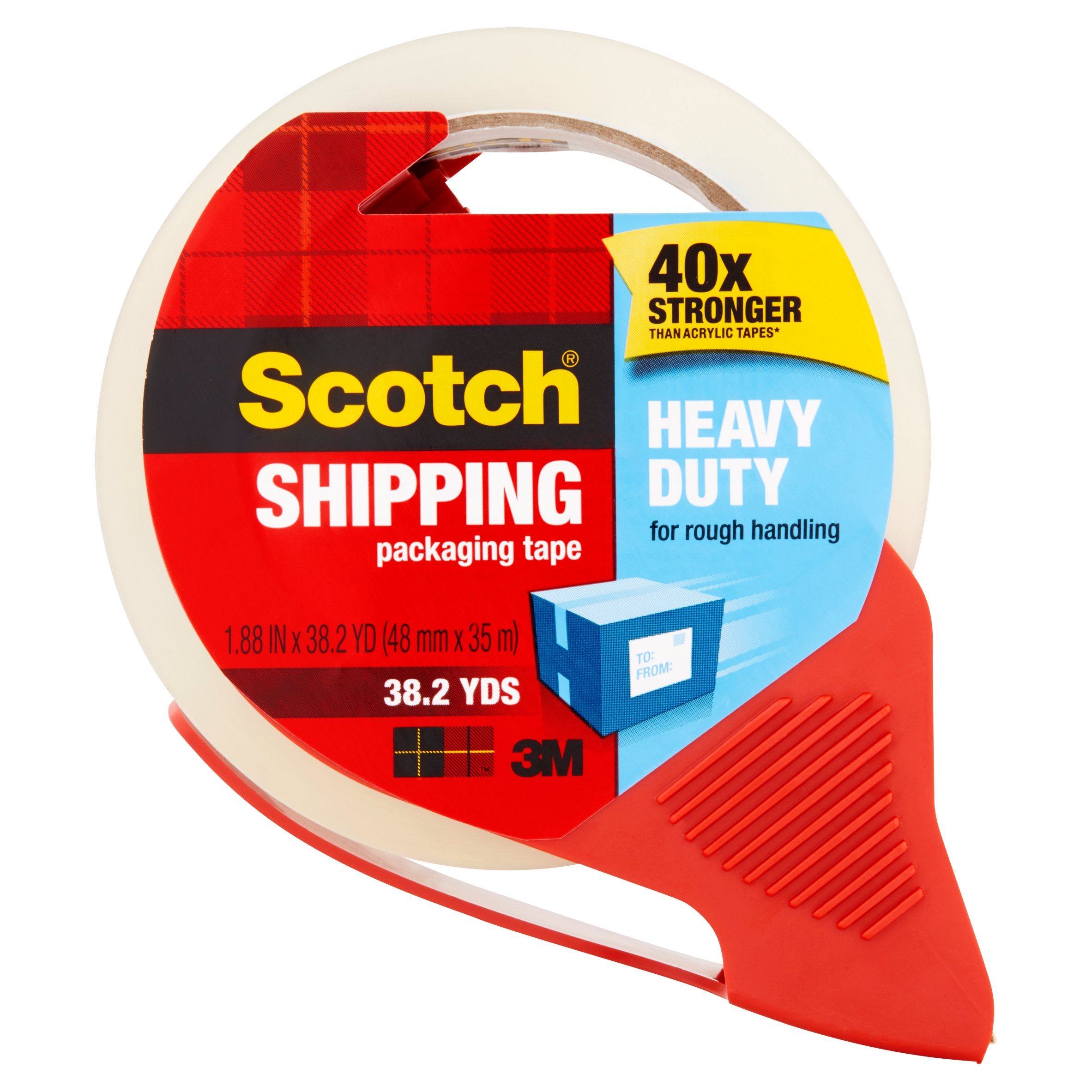 Scotch Heavy Duty Shipping & Packaging Tape with Dispenser, 1.88 in. x 38.2 yd. per Roll, Clear, 1 Dispenser/Pack