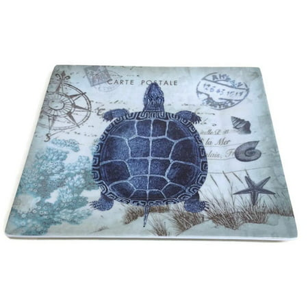 merritt - melamine square salad plate - seaside postcard turtle - 8""