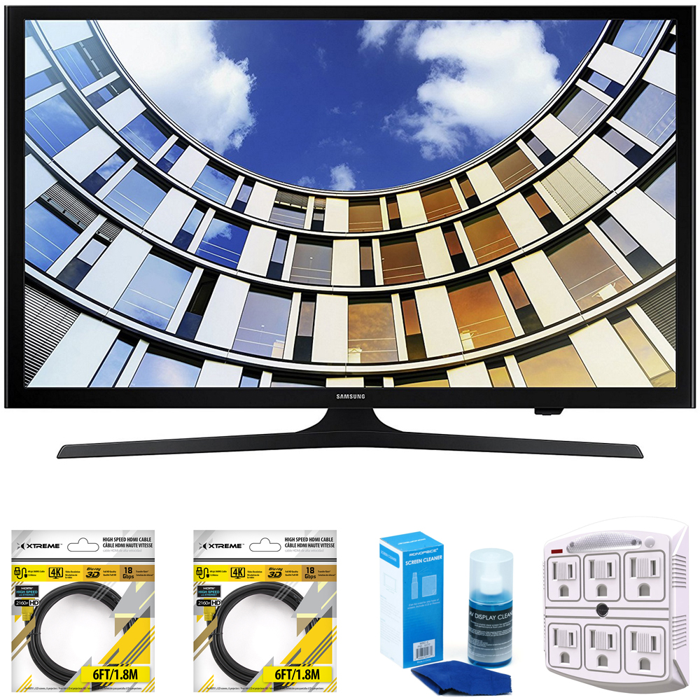 "Samsung Flat 43"" LED 1920x1080p 5 Series Smart TV 2017 Model (UN43M5300AFXZA) with 2x 6ft High Speed HDMI Cable Black, Universal Screen Cleaner for LED TVs & SurgePro 6-Outlet Surge Adapter"