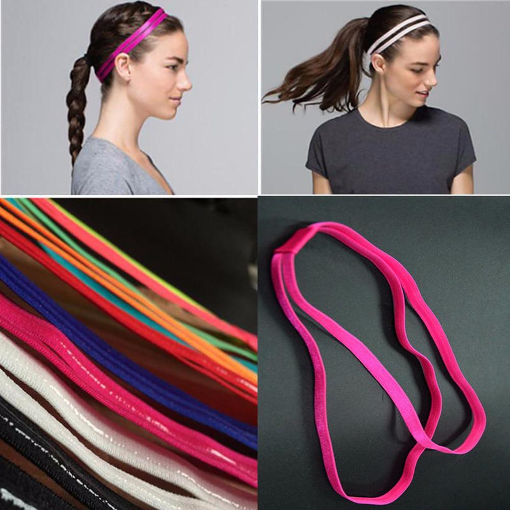 Girl12Queen Fashion Women Girl Double Band Anti-Slip Sports Yoga Elastic Headband Hairband