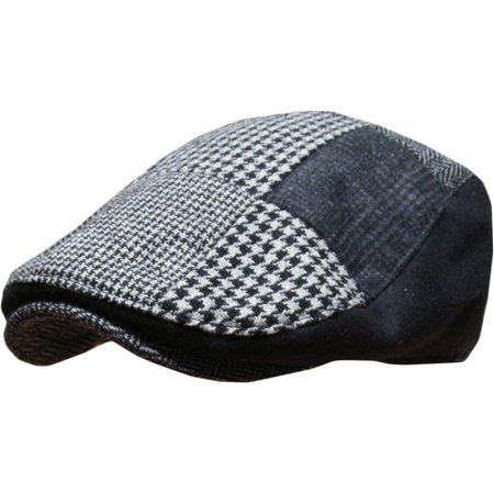 Black Multi Patch Plaid Wool Blend Newsboy Gatsby Ivy Hat Golf Driver Ascot - Novelty Golf Hats