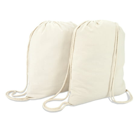 DALIX Canvas Drawstring Bag String Backpack Gym Mens Womens Natural Beige 2 Pack](String Backpack)