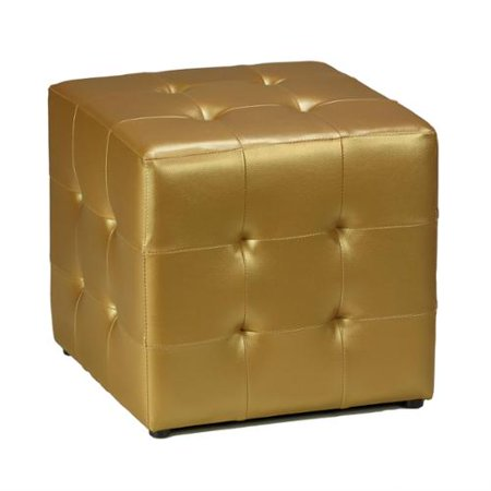 Excellent Cortesi Home Gold Vinyl Tufted Cube Ottoman Walmart Com Pdpeps Interior Chair Design Pdpepsorg