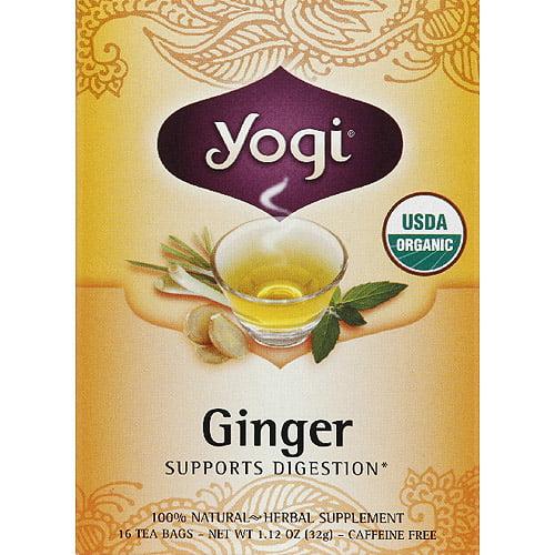 Yogi Ginger Herbal Tea Bags, 16 count, (Pack of 6)