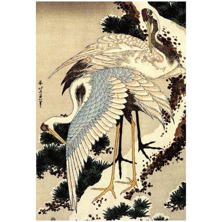 - Katsushika Hokusai Two Cranes on a Pine Covered with Snow Art Poster ...