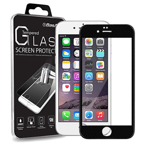 "BasAcc Black Frame Full Coverage (3D Curved) Tempered Glass Protector for iPhone 6s 6 4.7"" (Shatter-Proof)"