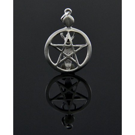 Sterling Silver Pentacle of the Goddess Pendant w/ Purple Cabochon - image 2 de 3
