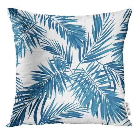 STOAG Leaf Indigo Blue Pattern with Monstera Palm Leaves on Dark Summer Tropical Design Black Floral Throw Pillowcase Cushion Case Cover 16x16 inch ()