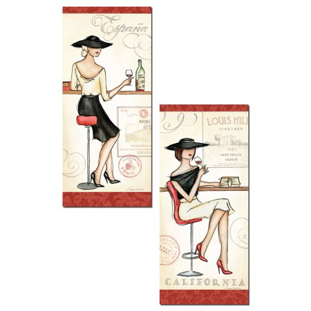 - Espana and California Wine Fashionista Panel Set by Andrea Laliberte; Two 8x18