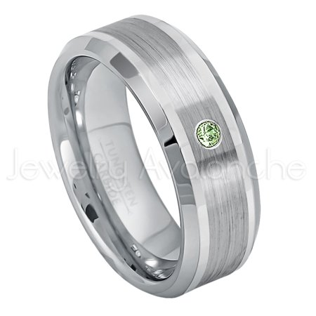 Personalized Tungsten Wedding Band 0 07ct Solitaire Green Tourmaline Ring 8mm Beveled Edge