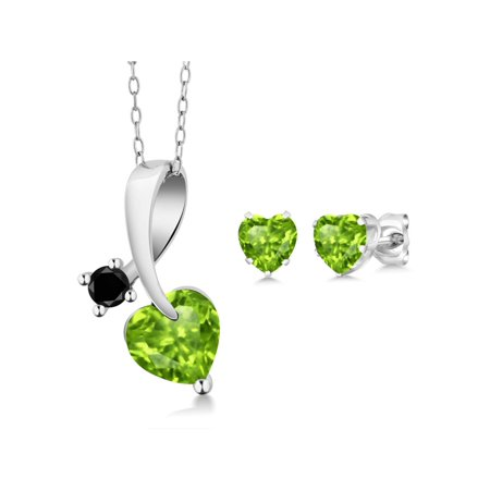 Shape Peridot Pendant Set (2.30 Ct Heart Shape Green Peridot and Black Diamond 925 Sterling Silver Pendant Earrings)