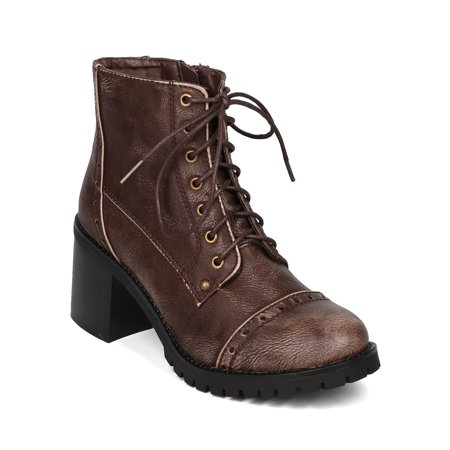 FI11 Women Leatherette Distressed Lace Up Chunky Heel Bootie